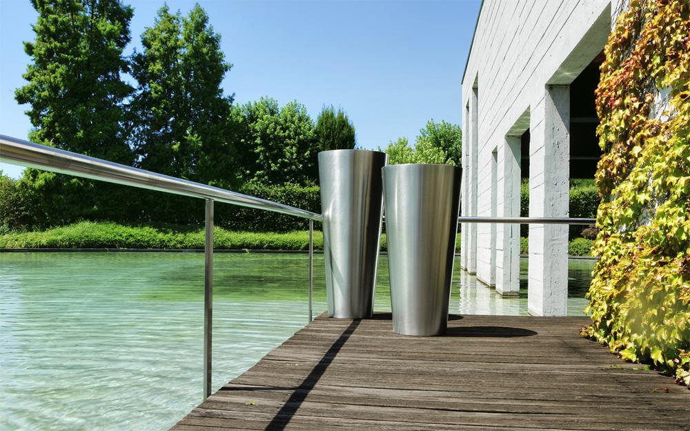 Hd home design sky inox satin pot de castelli for Pot de jardin exterieur