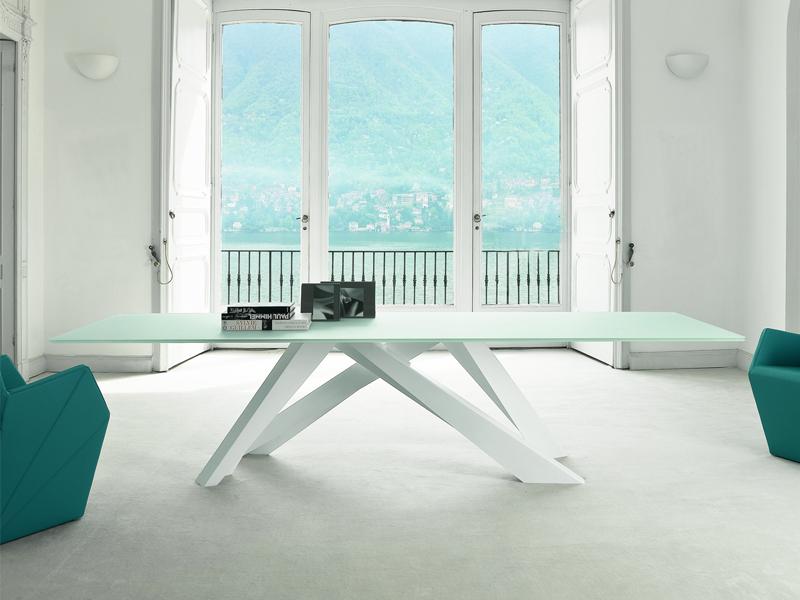 table verre depoli blanc